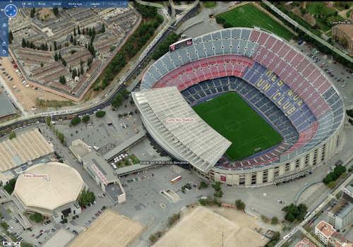 Bird's Eye view of Camp Nou in Bing Maps
