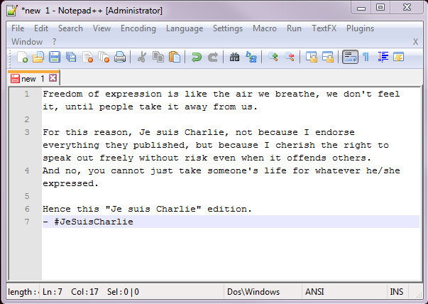 Notepad++ Message
